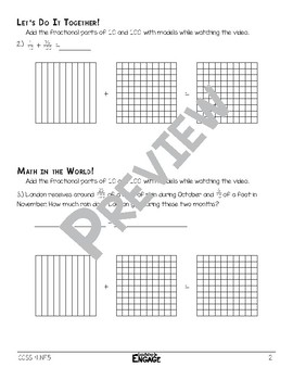 Add Fractional Parts of 10 and 100 with Models Math Video and Worksheet