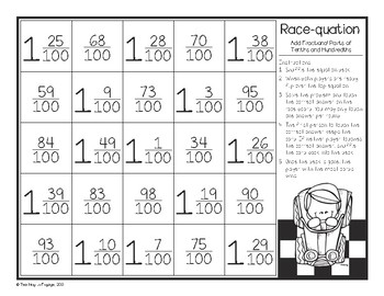 Add Fractional Parts of Tenths and Hundredths Race-quation
