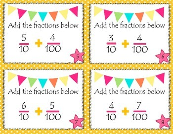 Add Fractions (10ths & 100ths) SCOOT 2 Versions to meet CCSS 4.NF.C.5 & 4.NF.C.6