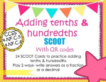 Add Fractions SCOOT with QR CCSS 4.NF.5