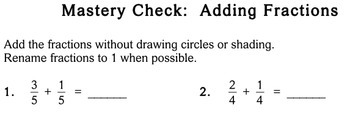 Add Fractions (Common Denominator), 3rd grade - Individualized Math - worksheets