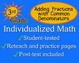 Add Fractions (Common Denominator), 3rd grade - worksheets - Individualized Math