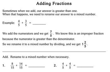 Add Fractions (Common Denominator), 4th grade - worksheets - Individualized Math