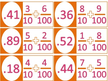 Add Fractions Convert Answer to a Decimal Domino Math Center CCSS 4.NF.C.6