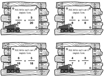 Add Fractions Like Denominator Task Cards