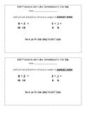 Add Fractions Like Denominators Exit Slip