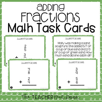 Add Fractions Task Cards for 5th Grade