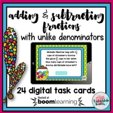 Add Fractions Unlike Denominators | Subtract Fractions Word Problems Boom Cards