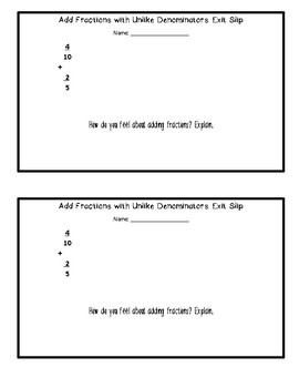 Add Fractions Unlike Denominators Exit Slip