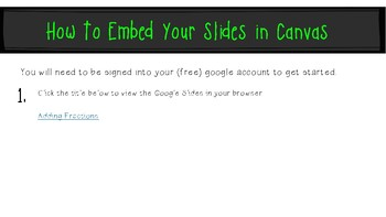 Adding Fractions & Mixed Numbers: Google Slides to Embed in Canvas