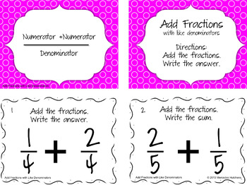Add Fractions with Like Denominators Task Cards