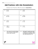 Add Fractions with Like Denominators Practice