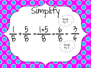 Add Fractions with Like Denominators Then Simplify Task Cards