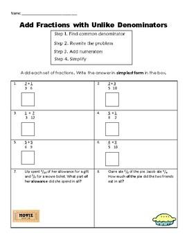Add Fractions with Unlike Denominators Practice