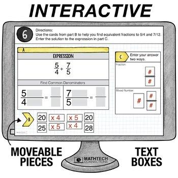 Add Fractions with Unlike Denominators  - 5th Grade Digital Math Center