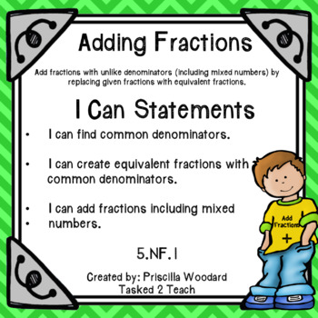 Add Fractions with Unlike Denominators - 5th Grade Fractions 5.NF.1 Set 1