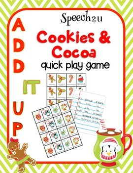 Add IT up: Cookies and Cocoa, Open Ended speech therapy game, articulation