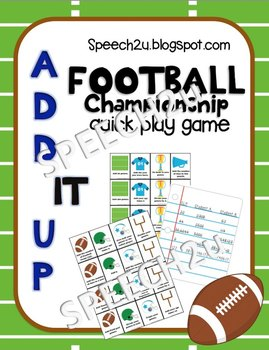 Add IT up: Football Open Ended Speech therapy game, Math