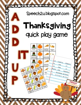 Add IT up: Open ended Thanksgiving Game