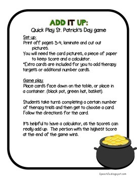 Add IT up: St. Patrick's Day, Open Ended Speech therapy game, math