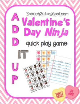 Add IT up: Valentine's Day Ninja's, Open Ended Speech therapy game