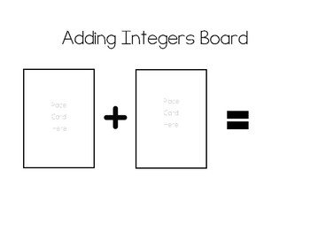 Add Integers Activity- with deck of cards