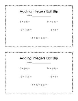 Add Integers Exit Slip