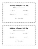 Add Integers Exit Slip