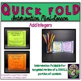 Add Integers Foldable Intervention Mini Lesson