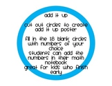 Add It Up Early Finishers Math Game