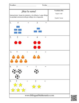 spanish math worksheets add it up simple addition by bilingual printables. Black Bedroom Furniture Sets. Home Design Ideas