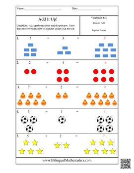 Spanish Math Worksheets - Add It Up! Simple Addition
