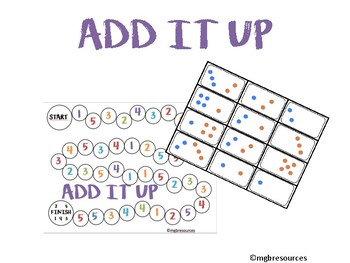 Add It Up Subitizing Board Game (within 5)
