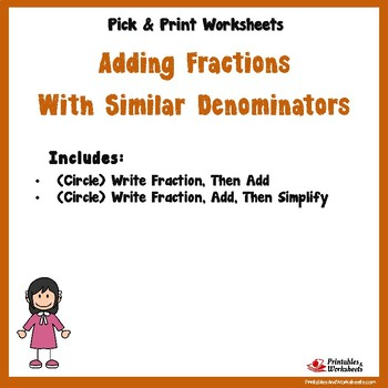 Add Like Fractions - (Circle) Write Fraction (Circle) Write Fraction