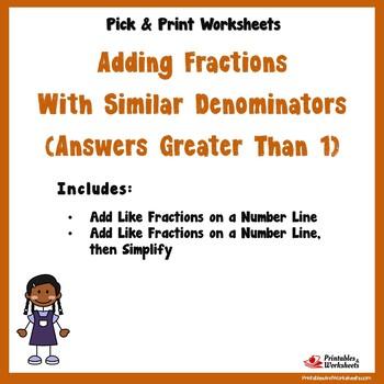 Add Like Fractions - Number Line, Over 1 Number Line, Over 1
