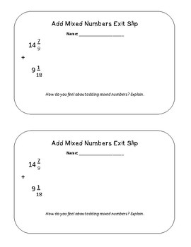 Add Mixed Numbers Exit Slip