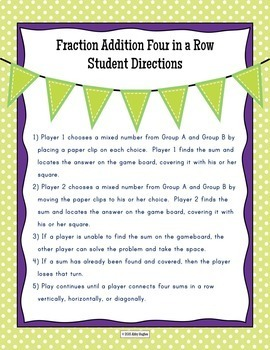 Add Fractions 4 in a Row Game Differentiated in 3 Levels