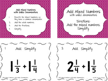 Add Mixed Numbers with Unlike Denominators Then Simplify Task Cards