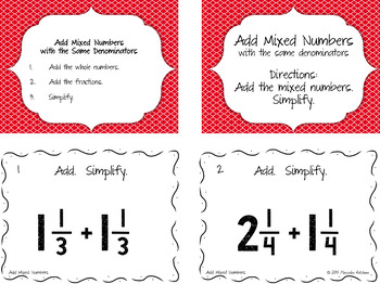 Add Mixed Numbers with the Same Denominator Then Simplify Task Cards