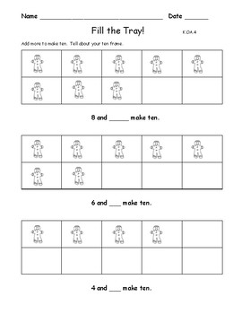 Add More to Make Ten:  Gingerbread Theme Math: Workmat and 3 Worksheets K.OA.4