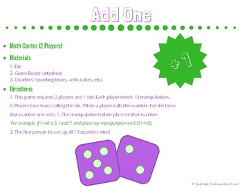 Add One (Math Game or Center)