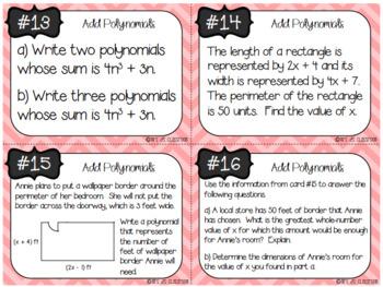 Add Polynomials Task Cards