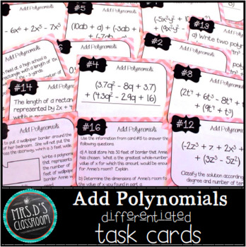 Add Polynomials Differentiated Task Cards