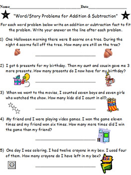 Add & Sub Facts Word Problems PLUS Add & Sub Facts Matches (BOTH SETS)