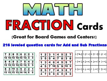 Add/Sub Fraction Cards - 3 levels (gr 3-6)