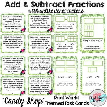 Adding subtracting fractions with like denominators word problems