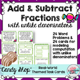 Add Fractions Word Problems | Subtract Fractions Unlike Denominators Task Cards