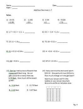 Add, Sub, and Estimate Decimals