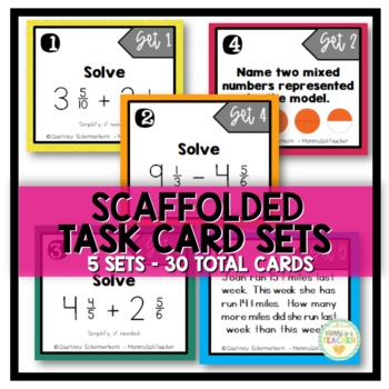 Add & Subtract Mixed Numbers Task Cards