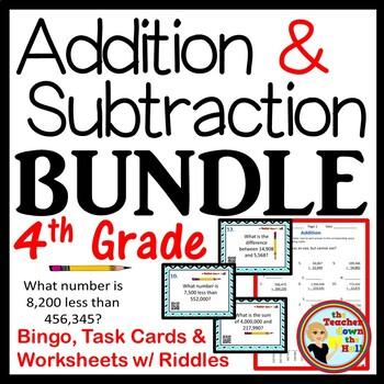 Add & Subt. BUNDLE (Bingo / Task Cards / Worksheets w/ Riddles) 4th-5th